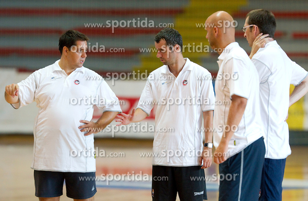 Head coach Saso Filipovski, assistant coaches Miro Alilovic, Andrej Zakelj and Jaka Daneu at first practice session of KK Union Olimpija before new season 2011/2012, on August 8, 2011, in Arena Kodeljevo, Ljubljana, Slovenia. (Photo by Vid Ponikvar / Sportida)