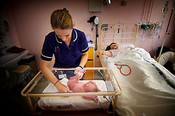 Midwife putting nappy on baby as his mother recovers, shortly after his birth by caesarean section at Kettering Hospital, Northamptonshire, UK.