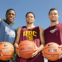 Dylan, Brandon, and Tyler Ennis, all from Brampton, playing basketball for various schools in the USA.
