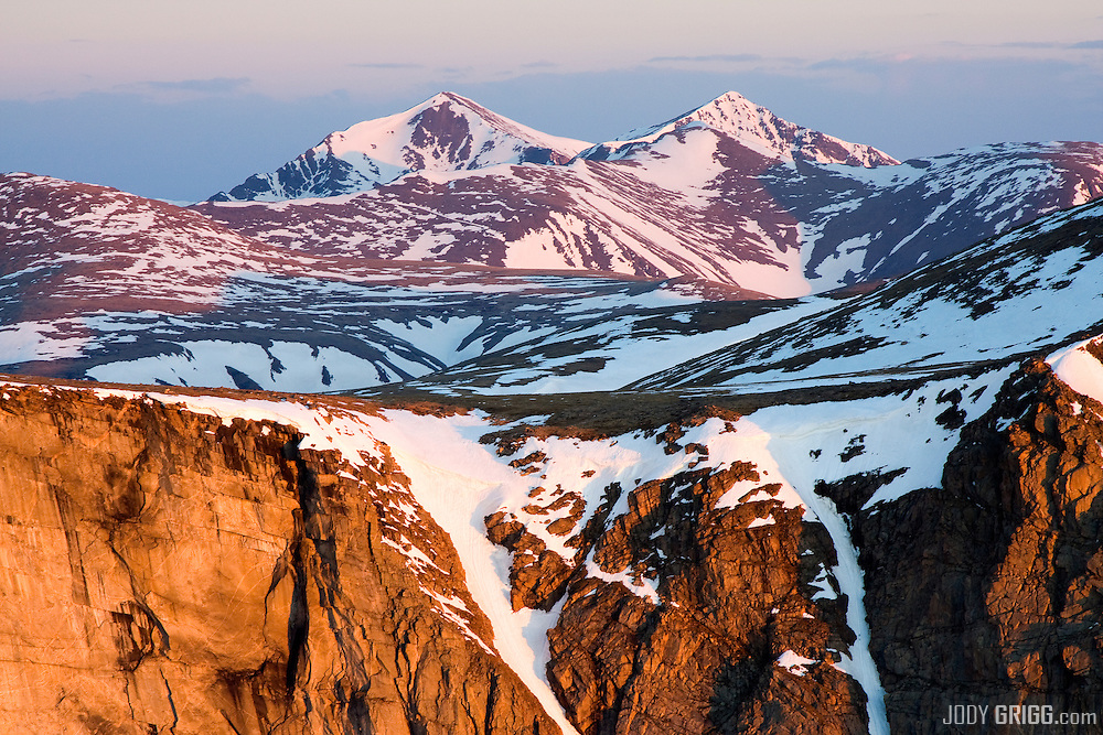 June sunrise on Grays Peak(l) 14,270ft, and Torreys Peak (r) 14,267ft, Colorado.