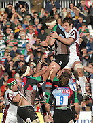 Twickenham, GREAT BRITAIN,  Quins, Jim EVANS, collects the line out ball, challenged by Tiger Louis DEACON, during the Guinness Premiership Game, Harlequins [Quins] vs Leicester Tigers, at the Twickenham Stoop 06/01/2008 [Mandatory credit Peter Spurrier/ Intersport Images].