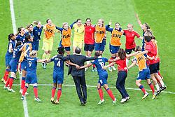09.07.2011, FIFA Frauen-WM-Stadion Leverkusen, Leverkusen, GER, FIFA Women Worldcup 2011, Viertelfinale, England (ENG) vs. Frankreicht (FRA), im Bild:  Torjubel / Jubel  Frankreich.. // during the FIFA Women´s Worldcup 2011, Quaterfinal, England vs France on 2011/07/09, FIFA Frauen-WM-Stadion Leverkusen, Leverkusen, Germany.   EXPA Pictures © 2011, PhotoCredit: EXPA/ nph/  Mueller *** Local Caption ***       ****** out of GER / CRO  / BEL ******