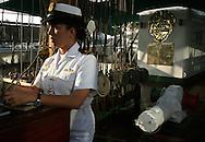 """BARCELONA- SPAIN, Nov/26/06.The training ship of the Colombian Army """"Gloria"""" arrives to the port of Barcelona; the ship will visit different ports in Mediterranean Sea.  Around 80 people are traveling in this ship among officials, instructors, students and personnel of maintenance.  In this training ship the cadets learn and practice the astronomical navigation with modern equipment of operation and communications. They learn with sails, ropes and all of the activities in a ship. This ship was born in Bilbao, Spain in 1966. (Photo by IPAPHOTO.COM)..BARCELONA- ESPAÑA Nov/26/06.El buque Escuela de la Armada Colombiana """"Gloria"""" a su llegada al puerto de Barcelona. El buque tiene previsto recorrer varios puertos del Mar Mediterráneo. Alrededor de 80 personas viajan en este buque entre oficiales, instructores, cadetes y personal de mantenimiento..En este buque Escuela los cadetes aprenden y practican la navegación astronómica, la operación de equipos modernos de navegación y de comunicaciones, realizan maniobras con velas y cabos y, en general, todas las actividades que se realizan en un buque. Este buque nació en los astilleros de Bilbao, España en 1966. (Photo by IPAPHOTO.COM)"""