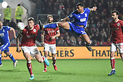 Birmingham City midfielder David Davis (26) shoots at goal 2-1 during the EFL Sky Bet Championship match between Bristol City and Birmingham City at Ashton Gate, Bristol, England on 10 April 2018. Picture by Alan Franklin.