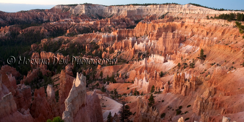 An early morning view from Sunrise Point of Bryce Canyon's fanciful hoodoo formations.