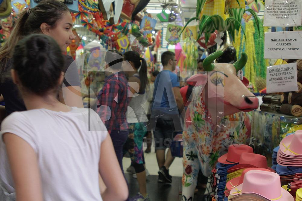 SÃO PAULO, SP, 05.06.2015 - COMÉRICIO-SP - Movimentação intensa nas lojas que vendem fantasias na Ladeira Porto Geral na região da rua 25 de Março centro da capital paulista na tarde desta sexta-feira, 5. (Foto: Renato Mendes/Brazil Photo Press)