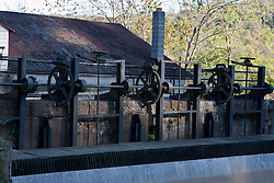 Gear mechanism controlling original locks on the Delaware Canal State Park, Pennsylvania, United States of America
