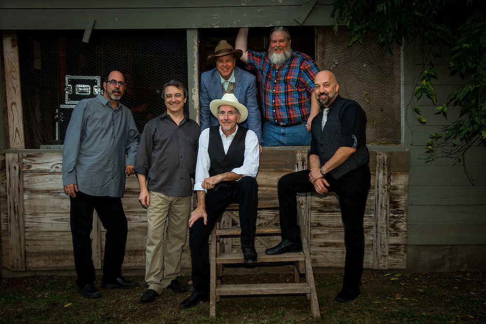 L-R Marty Muse, Rich Brotherton, Bill Whitbeck, Robert Earl Keen, Melvyn Koe, and Tom Van Schaik at Gruene Hall in New Braunfels, Texas on October 10 2014.