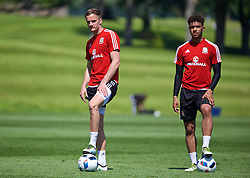 CARDIFF, WALES - Friday, June 3, 2016: Wales' Andy King and Tyler Roberts during a training session at the Vale Resort Hotel ahead of the International Friendly match against Sweden. (Pic by David Rawcliffe/Propaganda)