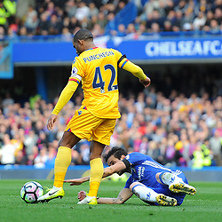 Cesc Fabregas of Chelsea reaches for the ball during Chelsea vs Crystal Palace, Premier League , 01.04.17 (c) Harriet Lander | SportPix.org.uk