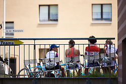Waiting for a bike race at Lotto Thuringen Ladies Tour 2018 - Stage 3, a 131 km road race starting and finishing in Schleiz, Germany on May 30, 2018. Photo by Sean Robinson/Velofocus.com