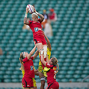 Twickenham. UK. Jennifer KISH, cleanly collects the line out ball un-opposed during the Canada vs Australia during the Women's Rugby 2015. Marriott London Sevens. RFU Twickenham Stadium. Surrey. 16.05.2015. [Mandatory Credit: Peter Spurrier/Intersport Images]
