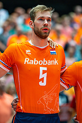 09-08-2019 NED: FIVB Tokyo Volleyball Qualification 2019 / Netherlands, - Korea, Rotterdam<br /> First match pool B in hall Ahoy between Netherlands - Korea (3-2) for one Olympic ticket / Luuc van der Ent #5 of Netherlands