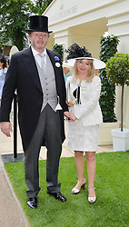 HANS RAUSING and his wife JULIA at the 1st day of the Royal Ascot Racing Festival 2015 at Ascot Racecourse, Ascot, Berkshire on 16th June 2015.
