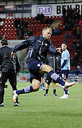 Eidur Gudjohnsen warms up by shooting during the Sky Bet Championship match between Rotherham United and Bolton Wanderers at the New York Stadium, Rotherham, England on 27 January 2015. Photo by Richard Greenfield.