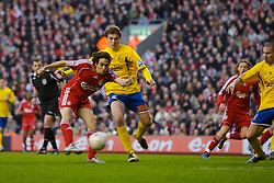 LIVERPOOL, ENGLAND - Saturday, January 26, 2008: Liverpool's Yossi Benayoun scores his second goal of his hat-trick against Havant and Waterlooville during the FA Cup 4th Round match at Anfield. (Photo by David Rawcliffe/Propaganda)