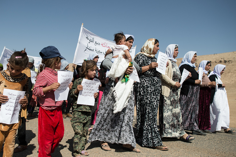 Women and children demonstrate to draw attention to the situation of Yazidis. Shingal (Sinjar), Iraq, August 28, 2015