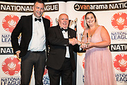Volunteer of the year Tony Henderson receives his award from Nicola Hudson and Darren Young during the National League Gala Awards Evening at Celtic Manor Resort, Newport, South Wales on 9 June 2018. Picture by Shane Healey.