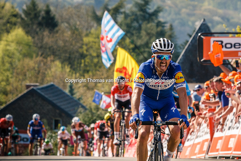 ALAPHILIPPE Julian	of Quick-Step Floors finishing 1st during the 2018 La Flèche Wallonne race, Huy, Belgium, 18 April 2018, Photo by Thomas van Bracht / PelotonPhotos.com | All photos usage must carry mandatory copyright credit (Peloton Photos | Thomas van Bracht)