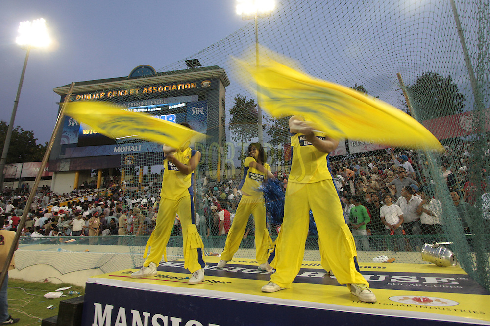 Cheers leaders of Channei Super Kings during match 9 of the Indian Premier League ( IPL ) Season 4 between the Kings XI Punjab and the Chennai Super Kings held at the PCA stadium in Mohali, Chandigarh, India on the 13th April 2011..Photo by Anil Dayal/BCCI/SPORTZPICS