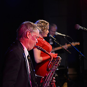 The Mara Flynn Trio performs at the kick off event for Vintage Christmas 2012 at The Loft in Portsmouth, NH.  (Flynn on vocals, Ben Baldwin on saxes and vocals, and Kent Allyn on keyboard and guitar)