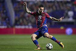 April 27, 2018 - Valencia, Valencia, Spain - Luna of Levante UD with the ball during the La Liga game between Levante UD and Sevilla FC at Ciutat de Valencia on April 27, 2018 in Valencia, Spain  (Credit Image: © David Aliaga/NurPhoto via ZUMA Press)