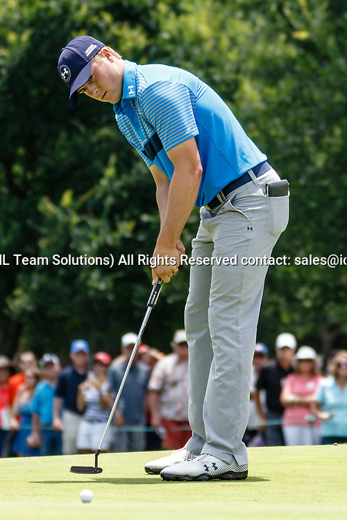 28 MAY 2015: Jordan Spieth just misses his birdie putt on #3 during the first round of the AT&T Byron Nelson Championship in Irving, TX.