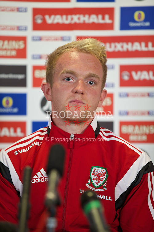 CARDIFF, WALES - Wednesday, September 3, 2014: Wales' Jonathan Williams during a press conference at the Millennium Centre in Cardiff ahead of the opening UEFA Euro 2016 qualifying match against Andorra. (Pic by David Rawcliffe/Propaganda)
