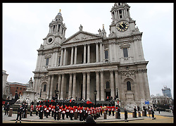 The scene  as Baroness Thatcher's coffin is taken up the steps of St.Paul's Cathedral in London at the start of her funeral Wednesday 17th  April 2013 Photo by: Stephen Lock / i-Images