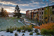 A glorious sunrise at the Allison Inn & Spa with a dusting of snow over fall foliage, Willamette Valley, Oregon.