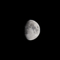 Waxing Gibbous Moon (75%). Autumn Night in New Jersey. Image taken with a Nikon D3s and 600 mm f/4 VR lens.  (ISO 200, 600 mm, f/5.6, 1/400 sec).