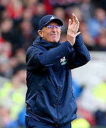 Middlesbrough manager Tony Pulis gestures on the touchline during the Sky Bet Championship match at Riverside Stadium, Middlesbrough.