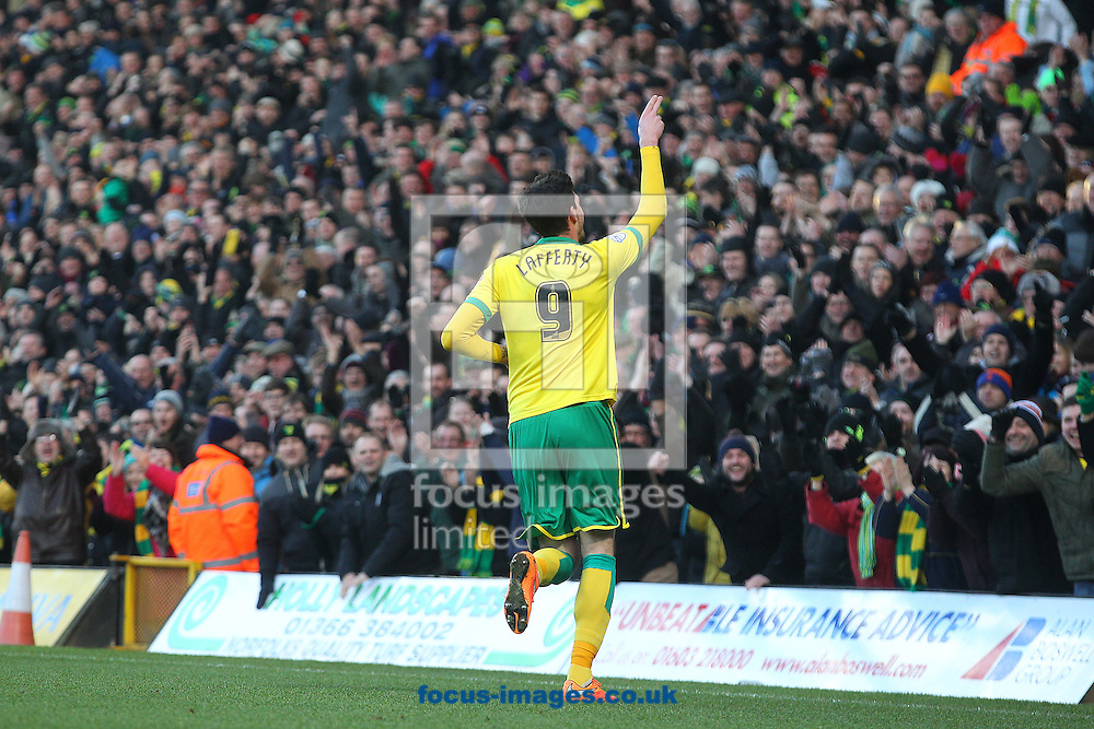 Kyle Lafferty of Norwich celebrates scoring his sides 2nd goal during the Sky Bet Championship match at Carrow Road, Norwich<br /> Picture by Paul Chesterton/Focus Images Ltd +44 7904 640267<br /> 17/01/2015