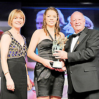 14 November 2009; Niamh O'Dea of Clare is presented with the Munster Young Player of the Year by Pat Quill, President, Cumann Peil Gael na mBan, in the company of Mary Davis, Managing Director, Special Olympics Europe / Eurasia. TG4 O'Neill's Ladies Football All-Star Awards 2009, Citywest Hotel, Conference, Leisure and Golf Resort, Dublin. Picture credit: Brendan Moran / SPORTSFILE *** NO REPRODUCTION FEE ***