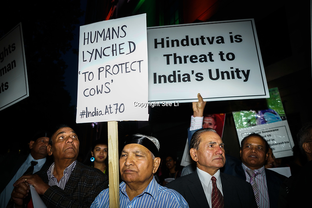 London, England, UK. 15th August 2017.  today's is the 70th anniversary of India's Independence, protesters assembly in Tavistock Square. March Against Mob Lynching in India to India Embassy against Hindu supremacist Brahmanical ideology mostly targeting Dalit minority Muslim, rape, kills, mutilation or eating cow will be killed and raped included Christian, Buddha and nun, in fact, no one is speared. A case of digging out a corpse and raping corpse. And an excicutation of 70 babies without Oxygen -Modi -Yogi. Protesters allege Narendra Modi, Prime Minister of India supporting Hindu supremacist Brahmanical ideology.
