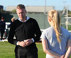 Bristol Academy manager Willie Kirk briefs a player ahead of the cup match against Oxford United Women - Mandatory by-line: Paul Knight/JMP - Mobile: 07966 386802 - 27/08/2015 -  FOOTBALL - Stoke Gifford Stadium - Bristol, England -  Bristol Academy Women v Oxford United Women - FA WSL Continental Tyres Cup