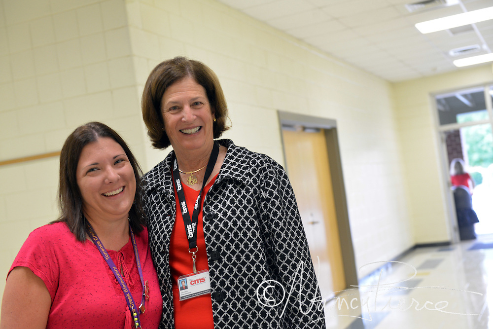 Torrence Creek Elementary: Teacher assistant Tammy Dookhith, an I Am CMS winner, with Supt Ann Clark who was Ms Dookhith's principal when she was a student at Vance High School