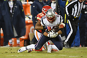 Jan 20, 2019; Kansas City, MO, USA; Kansas City Chiefs inside linebacker Reggie Ragland (59) tackles New England Patriots fullback James Develin (46)  during the AFC Championship game at Arrowhead Stadium. The Patriots defeated the Chiefs 37-31 in overtime to advance to their fifth Super Bowl in eight seasons. (Robin Alam/Image of Sport)