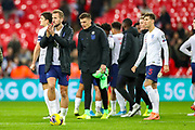 England forward Harry Kane at full time thanking fans kicking the match ball presented to him for his hattrick during the UEFA European 2020 Qualifier match between England and Montenegro at Wembley Stadium, London, England on 14 November 2019.