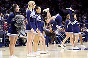 Xavier University cheerleaders perform during an NCAA college basketball game against Green Bay, Wednesday, Dec. 4, 2019, in Cincinnati. Xavier defeated Green Bay 84-71 (Jason Whitman/Image of Sport)