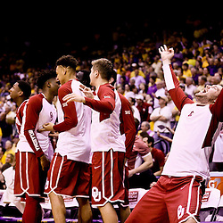 Jan 30, 2016; Baton Rouge, LA, USA; The Oklahoma Sooners bench celebrates after a basket against the LSU Tigers during the second half of a game at the Pete Maravich Assembly Center. Oklahoma defeated LSU 77-75. Mandatory Credit: Derick E. Hingle-USA TODAY Sports