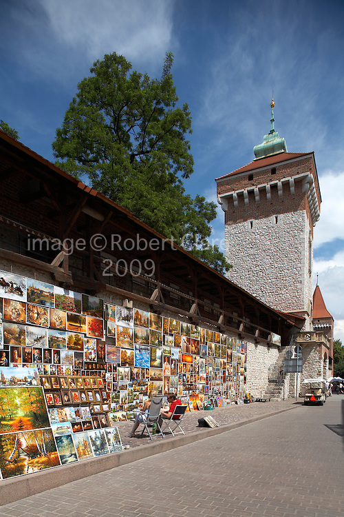 Eastren Europe Poland Malopolska Krakow City Walls Florian Gateway. Oil paintings hanging on wall ready for sale