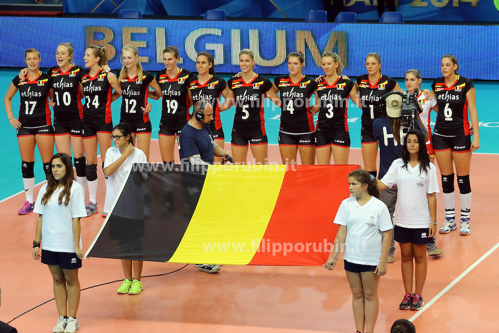 Belgium listen to his national anthem