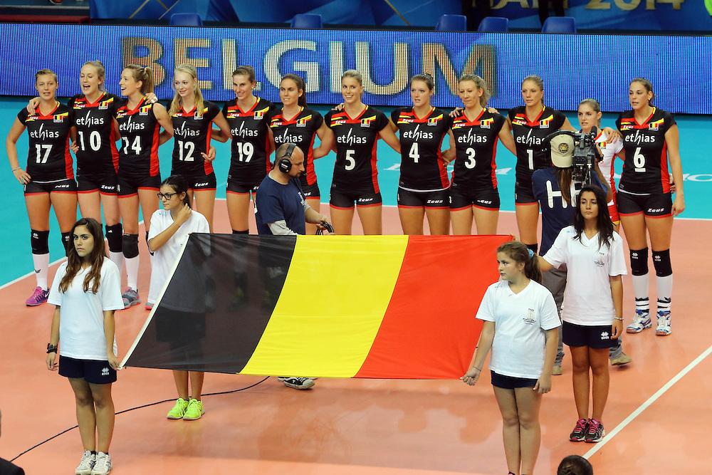 Belgium listen to his national anthem
