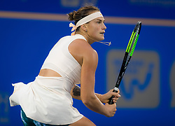 September 26, 2018 - Aryna Sabalenka of Belarus in action during her third-round match at the 2018 Dongfeng Motor Wuhan Open WTA Premier 5 tennis tournament (Credit Image: © AFP7 via ZUMA Wire)