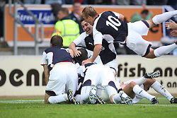 Falkirk cele Ryan Flynn scoring goal.<br /> Falkirk 1 v 0 FC Vaduz, Europa League Qualifying.<br /> &copy;2009 Michael Schofield. All Rights Reserved.