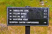 Trail sign at Scorpion Ranch, Santa Cruz Island, Channel Islands National Park, California USA