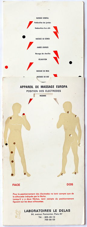 early electric massage instruction card French