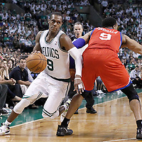 26 May 2012: Boston Celtics point guard Rajon Rondo (9) drives past Philadelphia Sixers small forward Andre Iguodala (9) during the Boston Celtics 85-75 victory over the Philadelphia Sixer, in Game 7 of the Eastern Conference semifinals playoff series, at the TD Banknorth Garden, Boston, Massachusetts, USA.