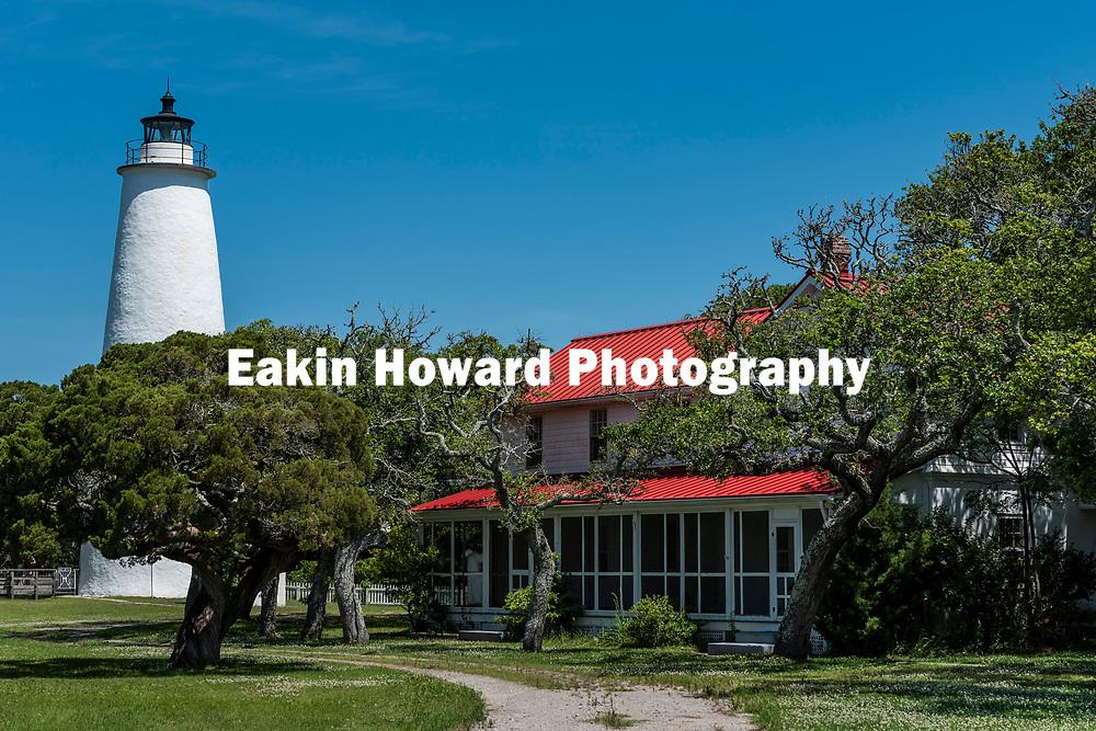Ocracoke Island Lighthouse on Ocracoke Island, NC on May 24, 2018.